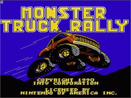 Title screen of Monster Truck Rally on the Nintendo NES.
