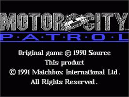 Title screen of Motor City Patrol on the Nintendo NES.