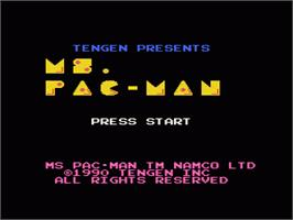 Title screen of Ms. Pac-Man on the Nintendo NES.