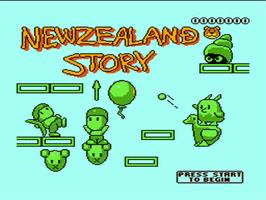 Title screen of New Zealand Story on the Nintendo NES.