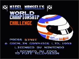 Title screen of Nigel Mansell's World Championship on the Nintendo NES.