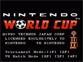 Title screen of Nintendo World Cup on the Nintendo NES.