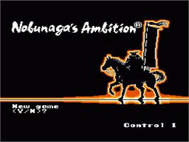 Title screen of Nobunaga's Ambition on the Nintendo NES.