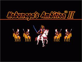 Title screen of Nobunaga's Ambition 2 on the Nintendo NES.