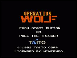 Title screen of Operation Wolf on the Nintendo NES.