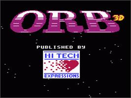 Title screen of Orb-3D on the Nintendo NES.