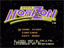 Title screen of Over Horizon on the Nintendo NES.