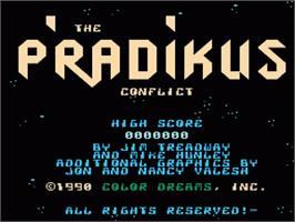 Title screen of P'radikus Conflict on the Nintendo NES.