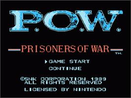 Title screen of P.O.W. - Prisoners of War on the Nintendo NES.