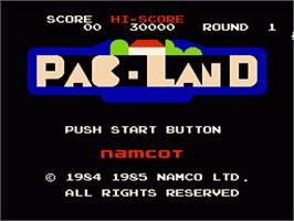 Title screen of Pac-Land on the Nintendo NES.
