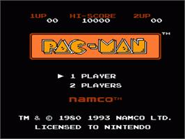 Title screen of Pac-Man on the Nintendo NES.