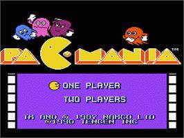 Title screen of Pac-Mania on the Nintendo NES.