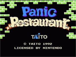 Title screen of Panic Restaurant on the Nintendo NES.