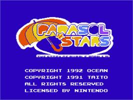 Title screen of Parasol Stars: The Story of Bubble Bobble 3 on the Nintendo NES.