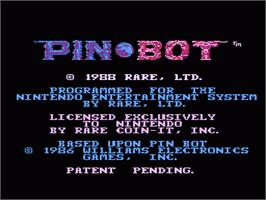 Title screen of PinBot on the Nintendo NES.
