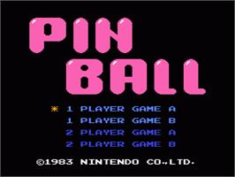 Title screen of Pinball on the Nintendo NES.