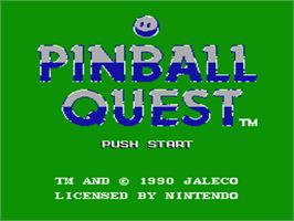 Title screen of Pinball Quest on the Nintendo NES.