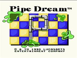 Title screen of Pipe Dream on the Nintendo NES.