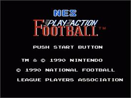 Title screen of Play Action Football on the Nintendo NES.