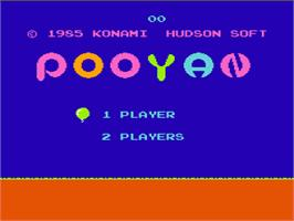 Title screen of Pooyan on the Nintendo NES.