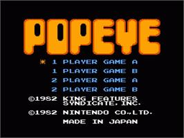 Title screen of Popeye on the Nintendo NES.