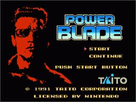 Title screen of Power Blade on the Nintendo NES.