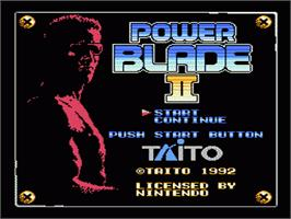 Title screen of Power Blade 2 on the Nintendo NES.