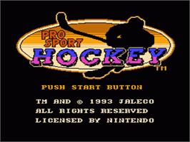 Title screen of Pro Sport Hockey on the Nintendo NES.