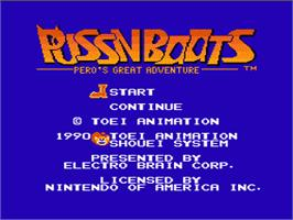 Title screen of Puss N Boots: Pero's Great Adventure on the Nintendo NES.