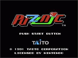 Title screen of Puzznic on the Nintendo NES.