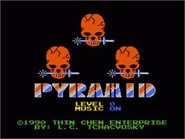 Title screen of Pyramid on the Nintendo NES.