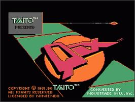 Title screen of Qix on the Nintendo NES.