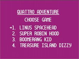 Title screen of Quattro Adventure on the Nintendo NES.