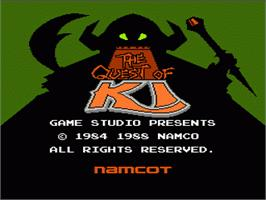 Title screen of Quest of Ki on the Nintendo NES.