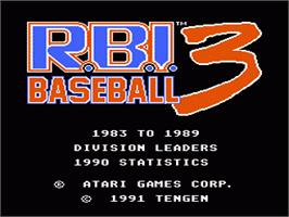 Title screen of RBI Baseball 3 on the Nintendo NES.