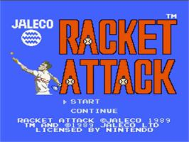 Title screen of Racket Attack on the Nintendo NES.