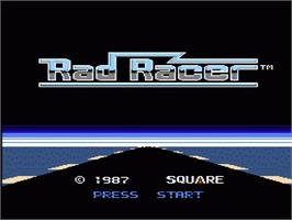 Title screen of Rad Racer on the Nintendo NES.