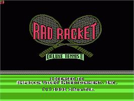Title screen of Rad Racket: Deluxe Tennis 2 on the Nintendo NES.
