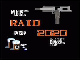 Title screen of Raid 2020 on the Nintendo NES.