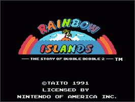 Title screen of Rainbow Islands on the Nintendo NES.