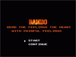 Title screen of Rambo on the Nintendo NES.