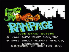 Title screen of Rampage on the Nintendo NES.