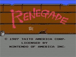 Title screen of Renegade on the Nintendo NES.