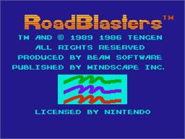 Title screen of Road Blasters on the Nintendo NES.