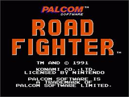 Title screen of Road Fighter on the Nintendo NES.