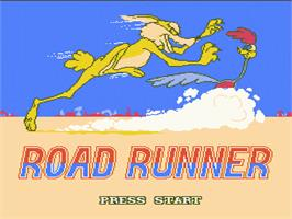 Title screen of Road Runner on the Nintendo NES.