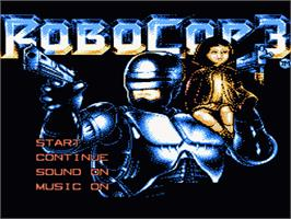 Title screen of Robocop 3 on the Nintendo NES.