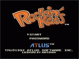 Title screen of Rockin' Kats on the Nintendo NES.