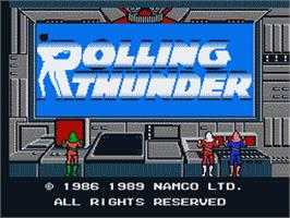 Title screen of Rolling Thunder on the Nintendo NES.