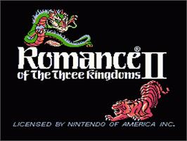 Title screen of Romance of the Three Kingdoms 2 on the Nintendo NES.